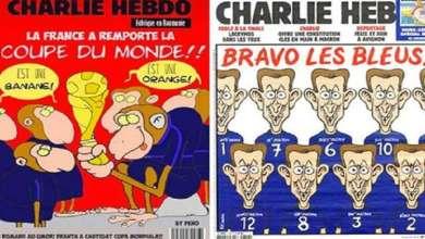 "Photo of ""شارلي إيبدو"" تشبه لاعبي المنتخب الفرنسي بالقردة"
