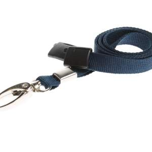 Plain Coloured Lanyards (100 Pack) - Metal Clips - Dark Blue