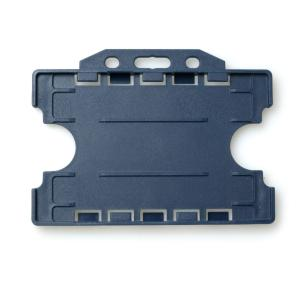 Double-Sided Open Faced ID Card Holder - Landscape (Dark Blue)