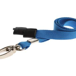 Plain Coloured Lanyards (100 Pack) - Metal Clips - Light Blue