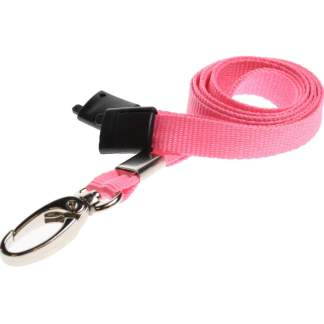 Plain Coloured Lanyards (100 Pack) - Metal Clips - Pink