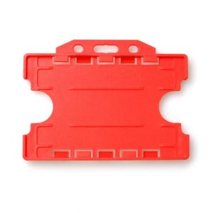 Double-Sided Open Faced ID Card Holder - Landscape (Red)