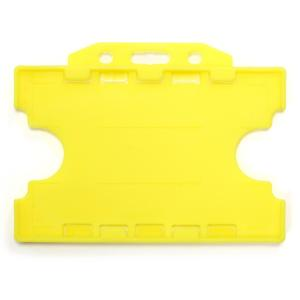 Double-Sided Open Faced ID Card Holder - Landscape (Yellow)