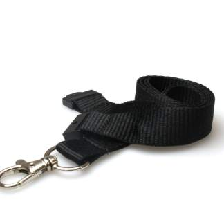 20mm Plain Coloured Lanyards (100 Pack) - Trigger Clips (Black)