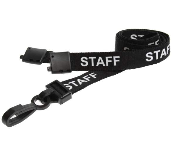 Black Staff Lanyards with Plastic J Clip (Pack of 100)