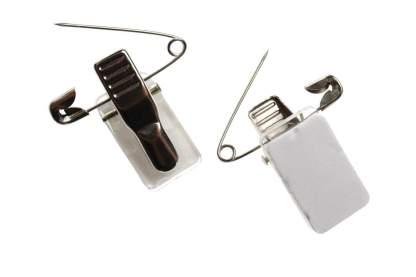 Metal Crocodile ID Card Clip with Pin & Self-Adhesive Pad (100 Pack)
