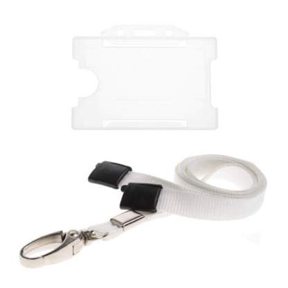 Clear ID Card Holder and Lanyard with Metal Clip