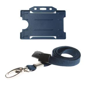 Dark Blue ID Card Holder and Lanyard with Metal Clip