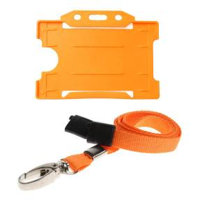 Orange ID Card Holder and Lanyard with Metal Clip