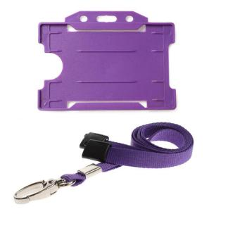 Purple ID Card Holder and Lanyard with Metal Clip