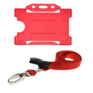 Red ID Card Holder and Lanyard with Metal Clip