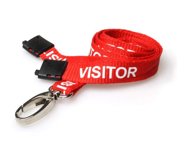 Visitor Lanyard with Metal Lobster Clip - Pack of 100 (Red)