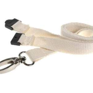 White Bamboo Biodegradable Lanyards with Metal Lobster Clip (100 Pack)