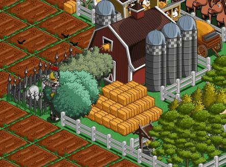 Pilas de objetos en Farmville