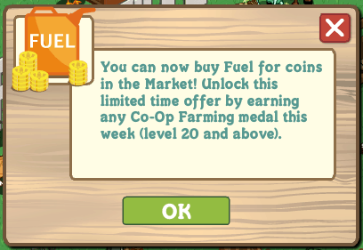 Fuel por monedas en farmville