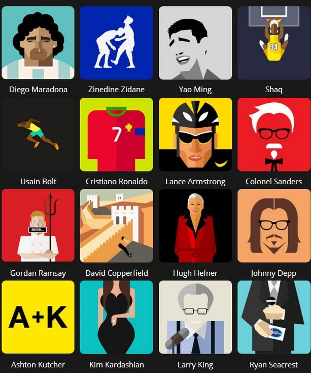 Icon Pop Quiz Answers Famous People Level 2:
