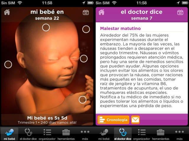 embarazo sanitas aplicación iOS
