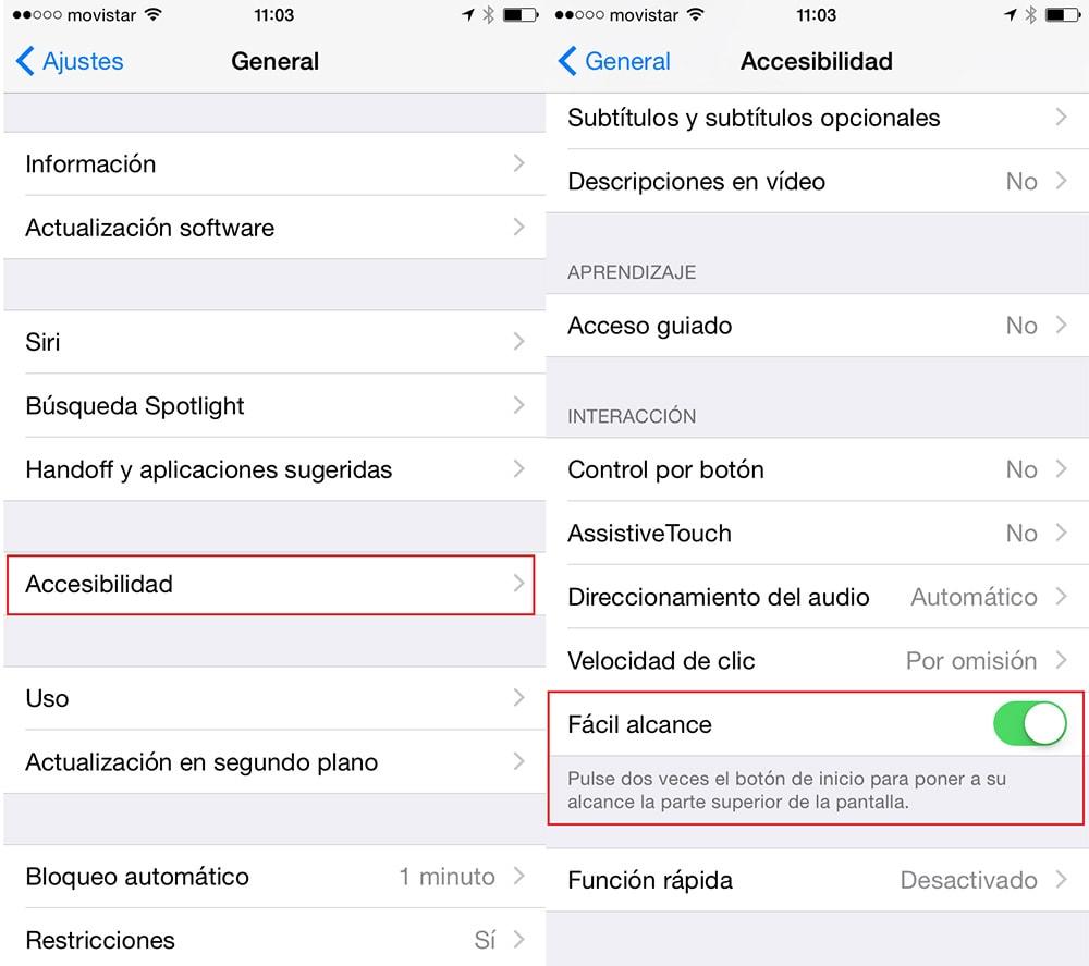 Cómo manejar tu iPhone 6 o 6 Plus con una sola mano: Reachability (Fácil alcance)