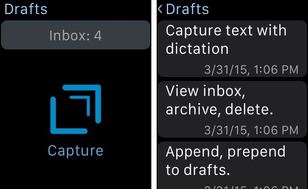 Drafts 4 app Apple Watch