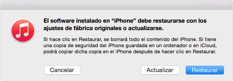 Utilizamos el modo recuperación del iPhone-iPad