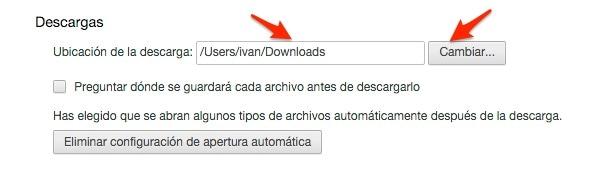 Cómo cambiar la carpeta de descargas por defecto en Google Chrome