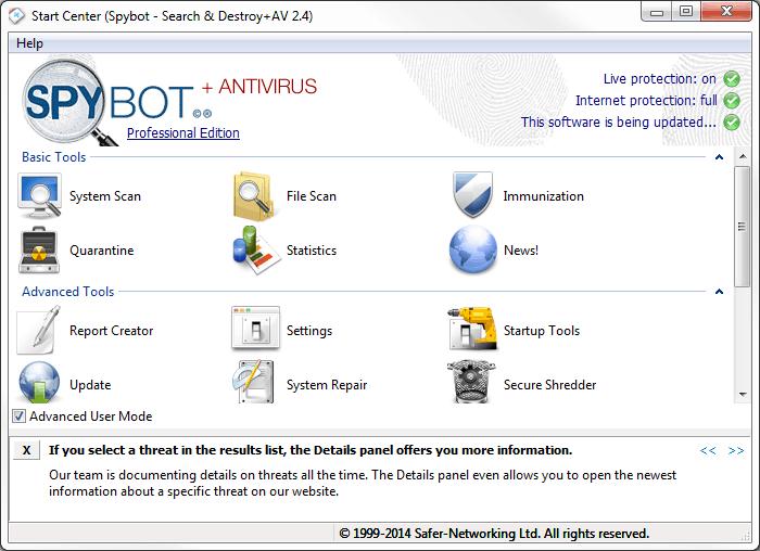 Spybot – Search & Destroy - Borra todo el malware y spyware de tu PC