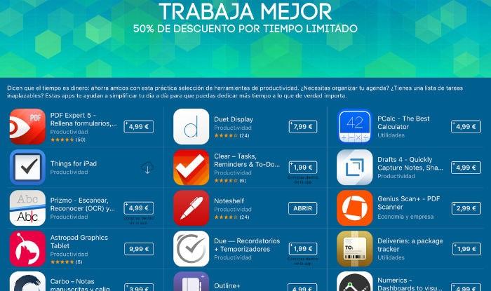 Apple aplica un descuento del 50% en las apps de productividad más populares de la iOS App Store