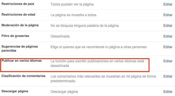 Cómo publicar en multiples lenguajes en Facebook
