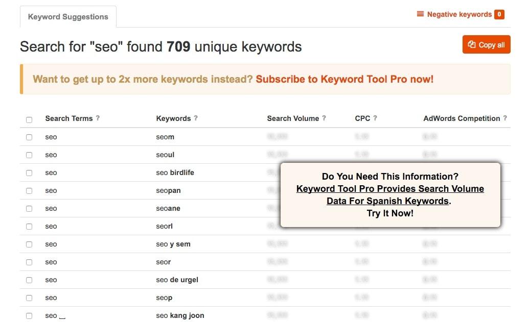 """keywordtool.io, una buena herramienta SEO para buscar tu propio camino por el """"long tail"""""""