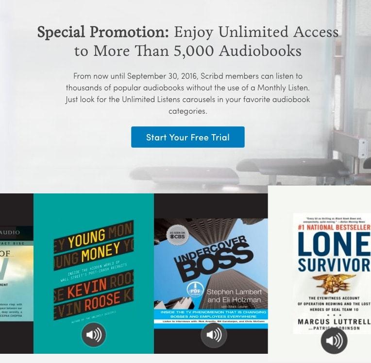 Acceso ilimitado a 5000 audiolibros en Scribd