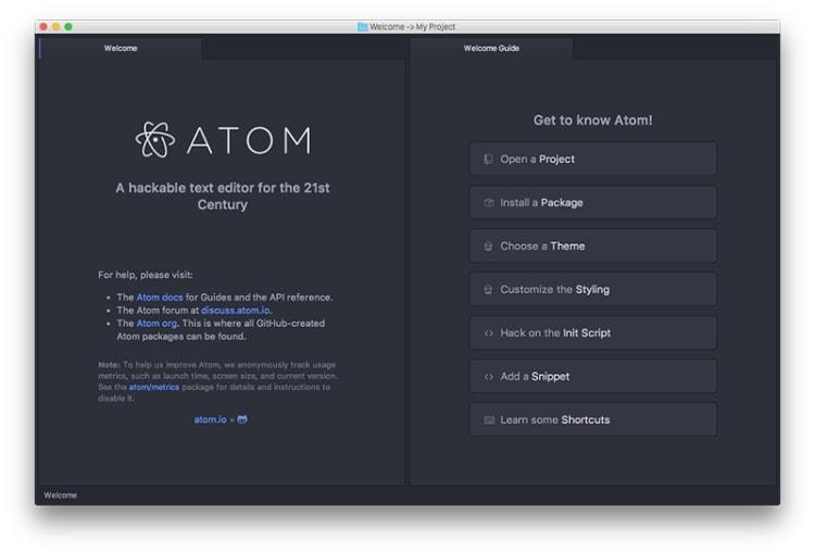 Atom, editor de codigo