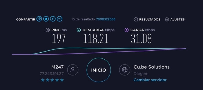 windscribe VPN test velocidad usa
