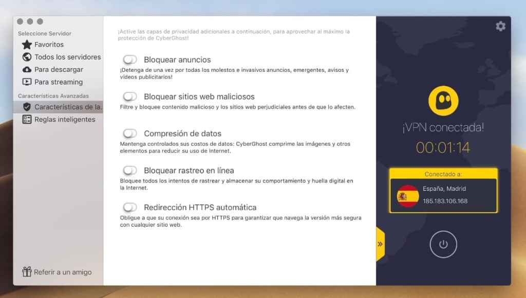 CyberGhost VPN: review y opinión app