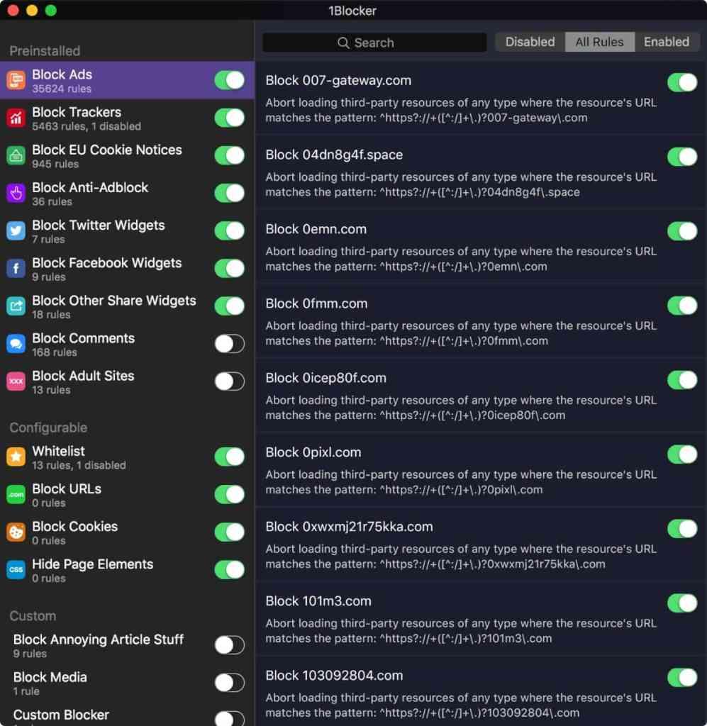 1Blocker: bloqueador anuncios macOS safari