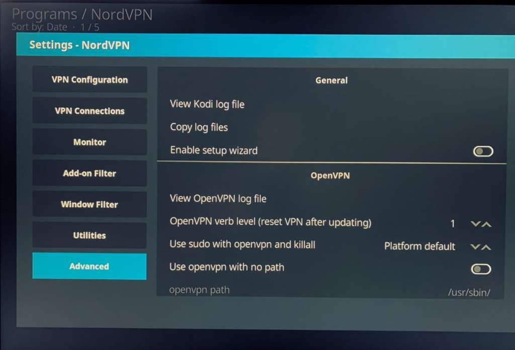 configuración en el Add-on de NordVPN en Kodi