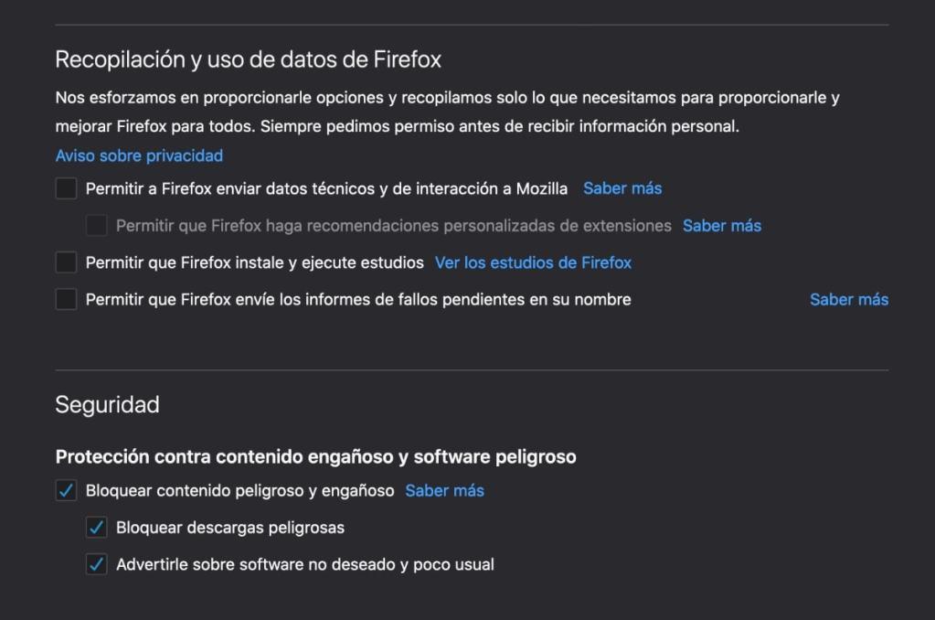 desmarcar la recopilación y uso de datos de Firefox y activar todas las opciones de seguridad