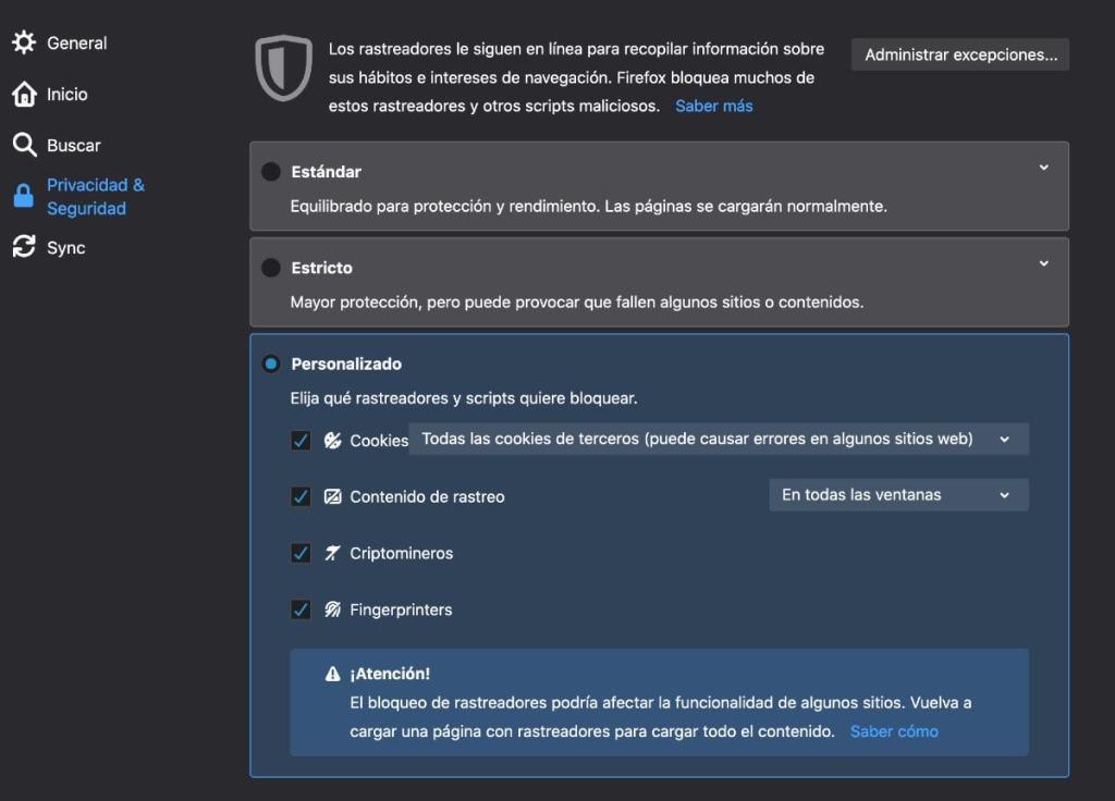 configuracion privacidad firefox