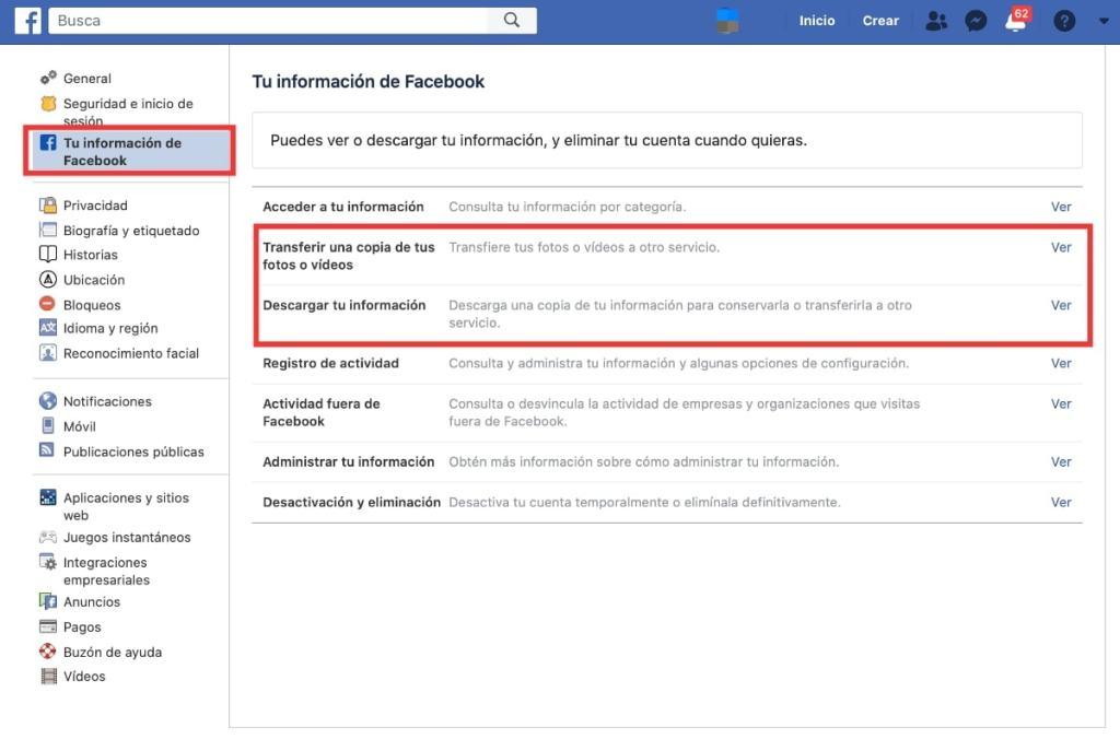 ¿Quieres descargar toda tu información de Facebook antes de eliminar la cuenta?