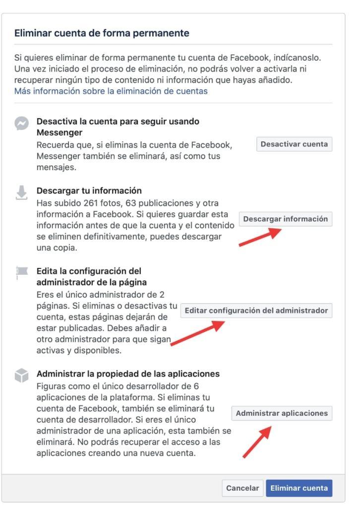 Confirmamos la eliminación de cuenta Facebook: descargas y administración paginas