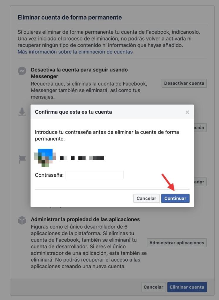 Confirmamos la eliminación de la cuenta con nuestra password de Facebook