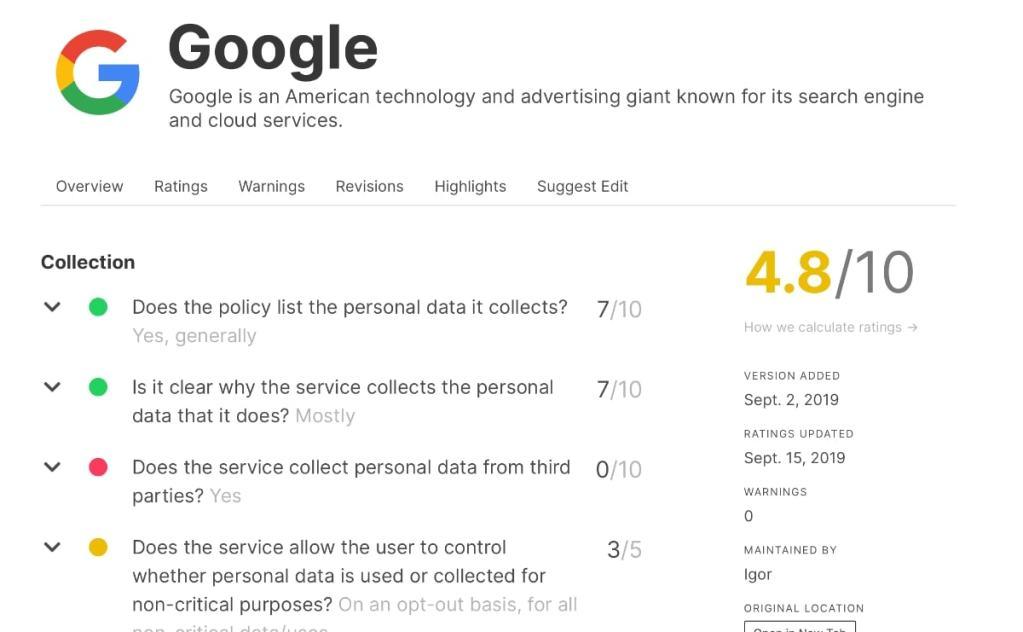 google politica privacidad valoración