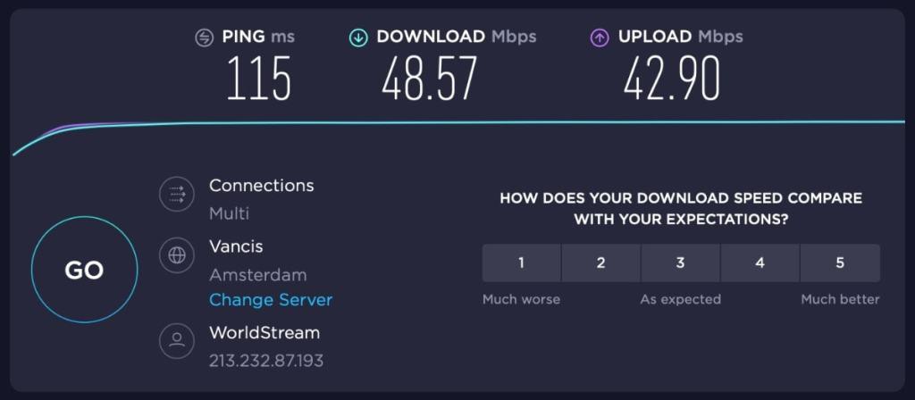 conexión a uno de los servidores de NordVPN a Países Bajos