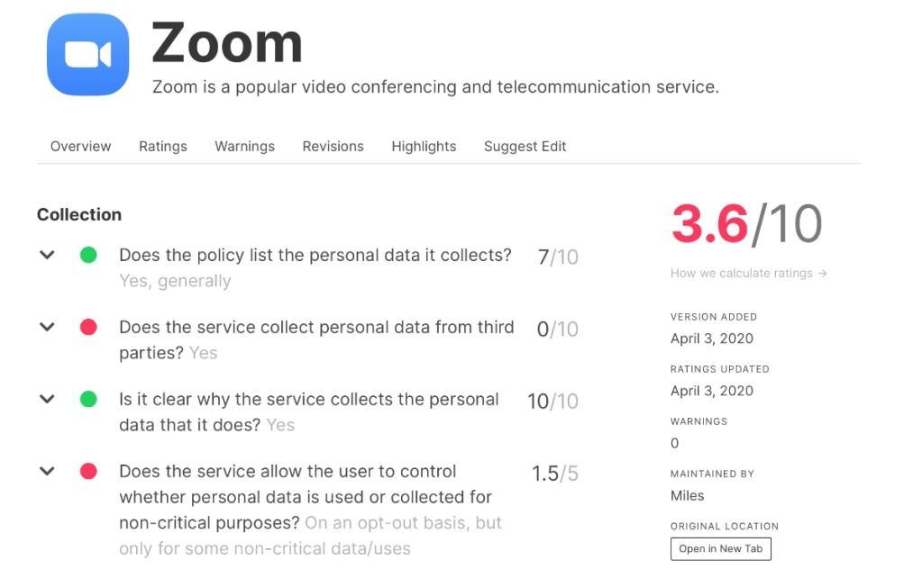 zoom politica privacidad valoración