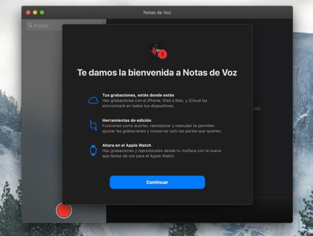App notas de voz MacOS