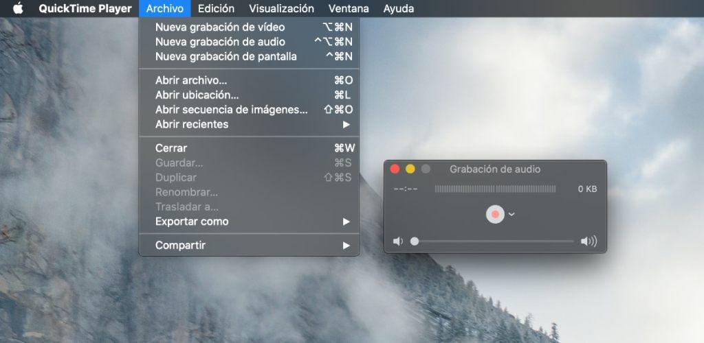 Quicktime: grabar audio mac