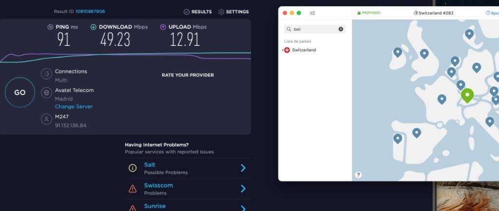 Velocidad servidor NordVPN en Suiza