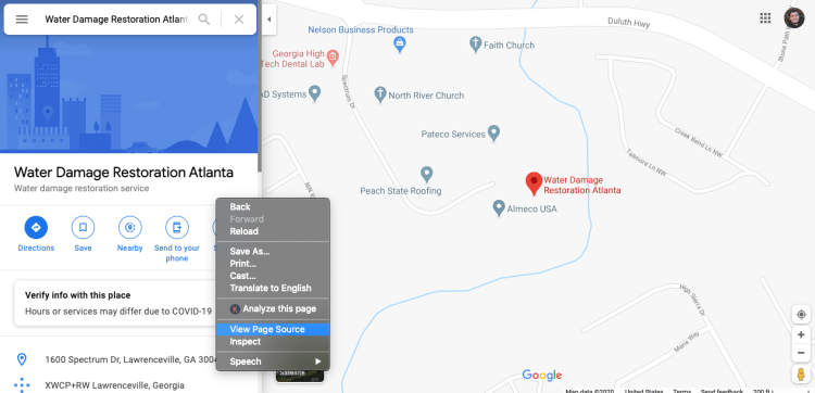 Finding a Google My Business page source for local SEO
