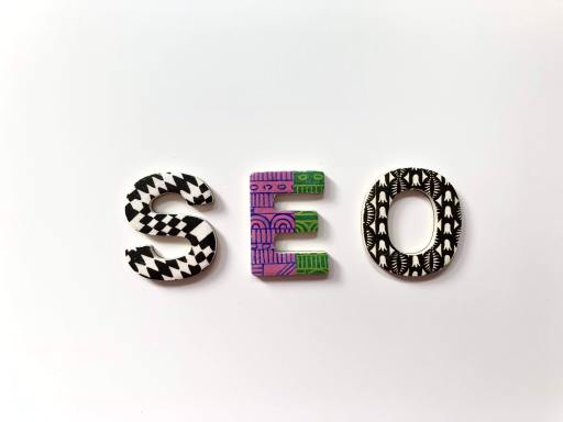 SEO spelled out in colorful tiles
