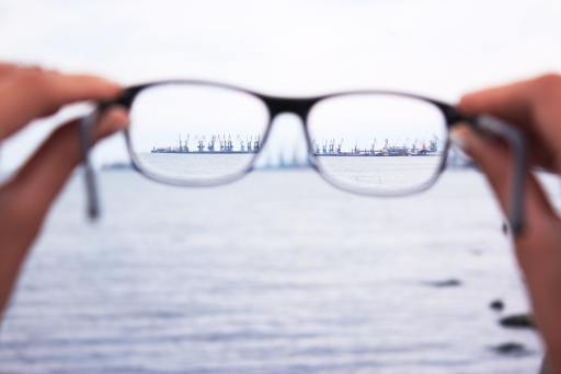 distant ship brought into focus with glasses