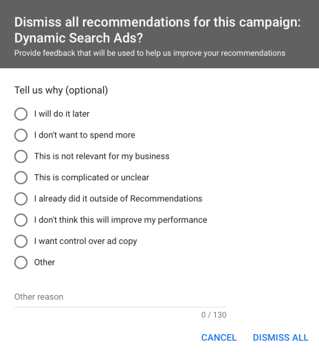 Google recommendation rejection questions